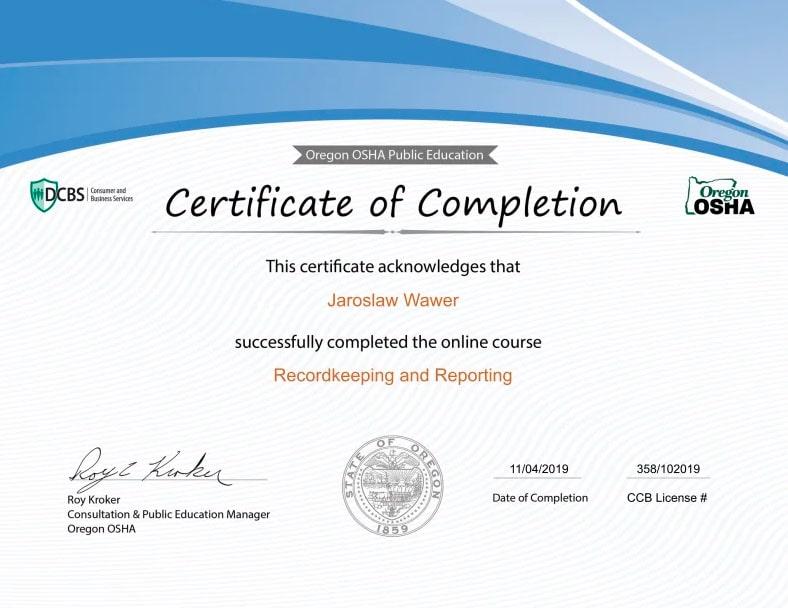 Certyfikat OSHA - Recordkeeping and Reporting (Prowadzenie dokumentacji i raportowanie) - Jarosław Wawer