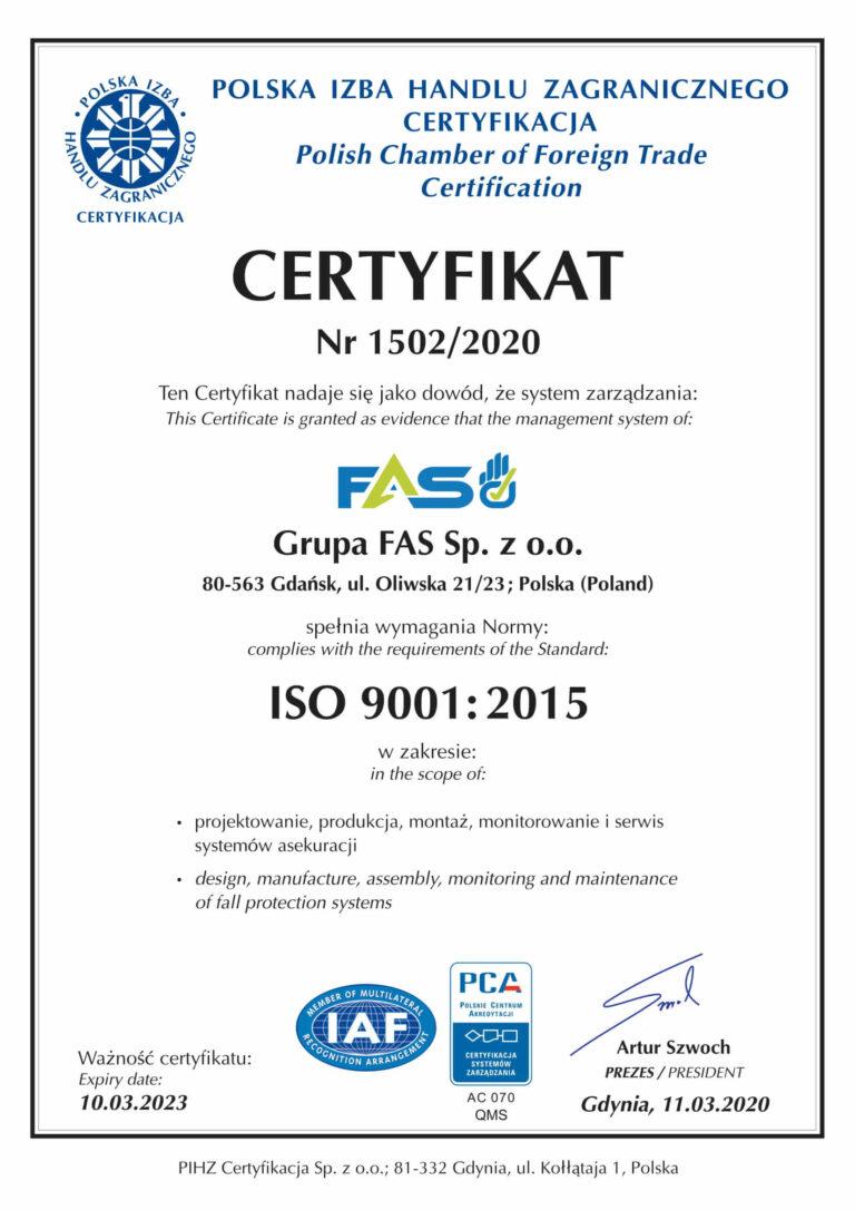 Grupa FAS - Certyfikat ISO 9001