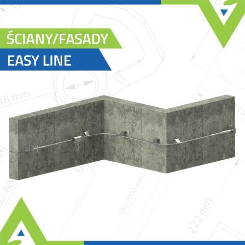 Poziome linowe systemy asekuracji na ściany - Easy Line