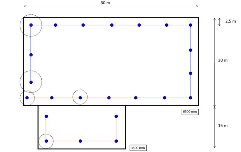 Plan systemu asekuracji złożony z systemu ograniczającego i powstrzymującego upadek